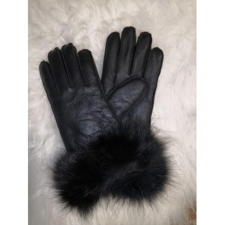 Luxusní dámské kožené prstové rukavice sjehněčí kožešinou a lemem 2