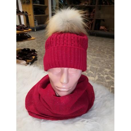 zimní set čepice + šála červená