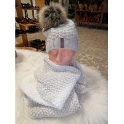 zimní set čepice + šála bílo-šedá