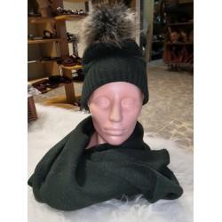 zimní set čepice + šála zelená lesklá