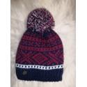 Zimní pletená vlněná čepice červeno-modro-bílá