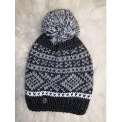 Zimní pletená vlněná čepice černo-šedo-bílá