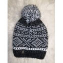 Winter knitted wool cap dark-blue