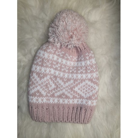 Zimní pletená vlněná čepice béžovo-bílá