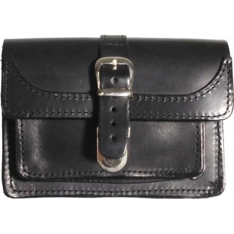 Leather belt case black