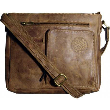 Kožená taška cez rameno h.u.n.t. hnedá