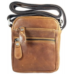 Small men's leather shoulder bag 870551 brown