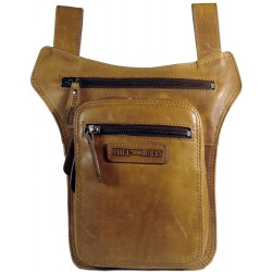 Men's leather bag HILL BURRY for a belt with the possibility of attachment around the thigh 6186 brown