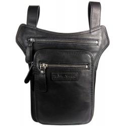 Herrentasche aus Leder HILL BURRY für einen Gürtel mit der Möglichkeit der Befestigung um den Oberschenkel 6186 schwarz