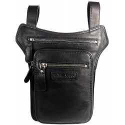 Men's leather bag HILL BURRY for a belt with the possibility of attachment around the thigh 6186 black