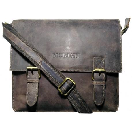 Kožená taška cez rameno Moriati hnedá