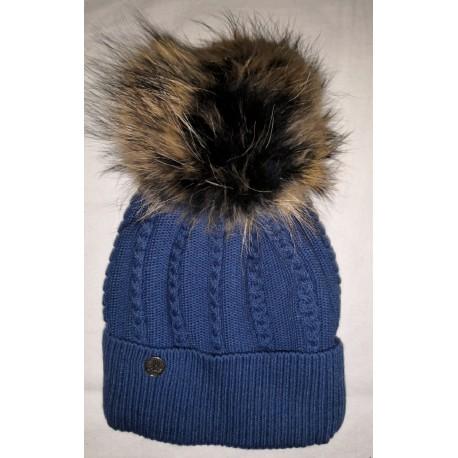 Winter knitted wool cap dark-blue