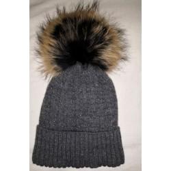 Zimní pletená vlněná čepice šedá se třpitkami