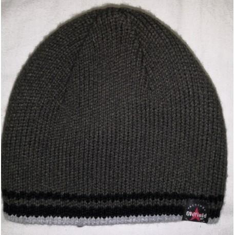Zimní pánská pletená vlněná čepice hnědá