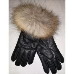 Luxus Damen Lederhandschuhe mit Lammfell und Saum 2