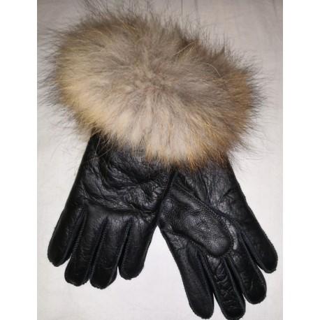 Luxusní dámské kožešinové prstové rukavice sjehněčí kožešinou a lemem - černé