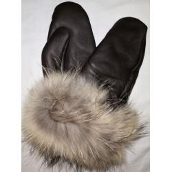 Luxusní dámské kožené prstové rukavice sjehněčí kožešinou a lemem 1