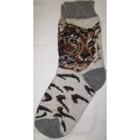 Vlněné ponožky motiv leopard