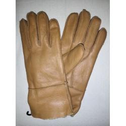 Zimní dámské kožené rukavice světle hnědé