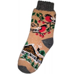Vlněné ponožky motiv ptáčči