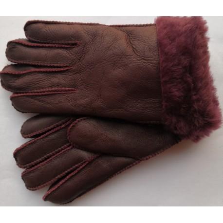 Zimní dámské kožené rukavice fialové