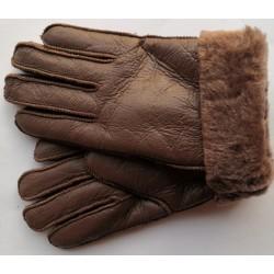 Zimní dámské kožené rukavice tmavě hnědé