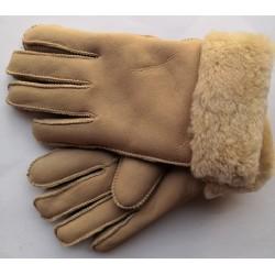 Zimní dámské kožené rukavice světle béžové
