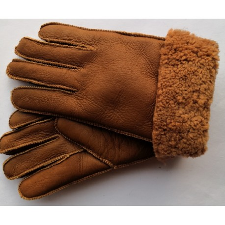 Zimní dámské kožené rukavice hnědé