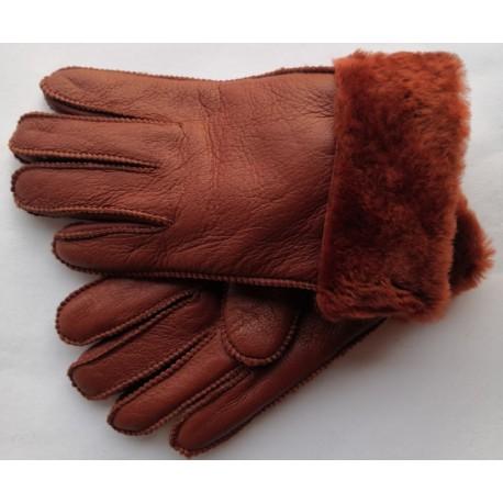 Zimní dámské kožené rukavice hnědo-červená