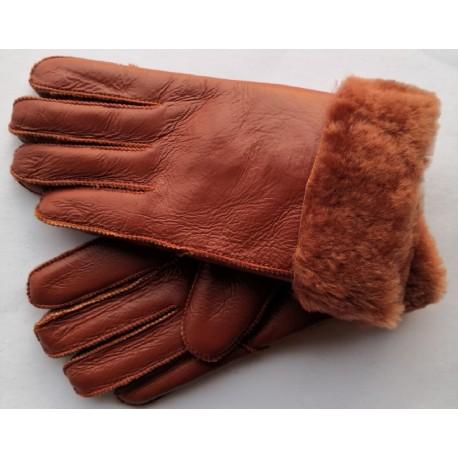 Zimní dámské kožené rukavice hnědá 5