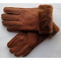 Zimní dámské kožené rukavice hnědá 4
