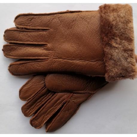 Zimní dámské kožené rukavice hnědá 3