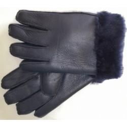 Zimní pánské kožené rukavice modré