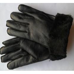 Zimné pánske kožené rukavice čierne 1