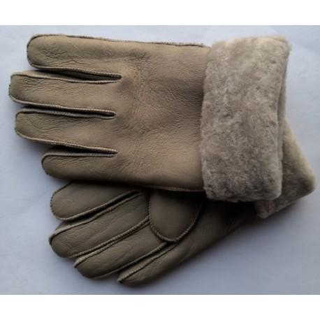 Zimní pánské kožené rukavice béžové