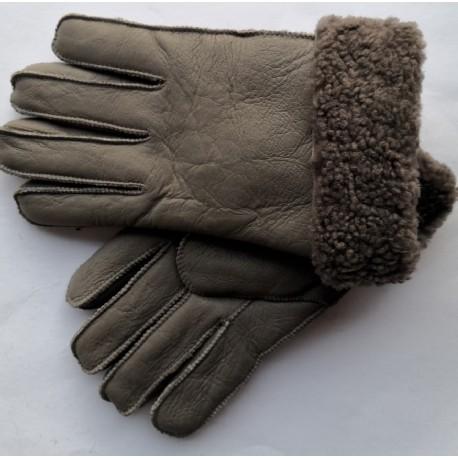 Zimní pánské kožené rukavice šedo-hnědé