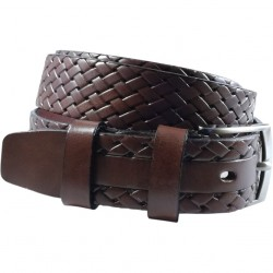 Black leather belt, embossed interlocking pattern, smooth buckle, 4 cm wide