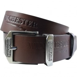 Leather belt with embossed pattern and smooth clasp 4 cm wide