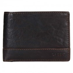 MEN'S LEATHER WALLET LG-6504 / T - DARK BROWN - DBR