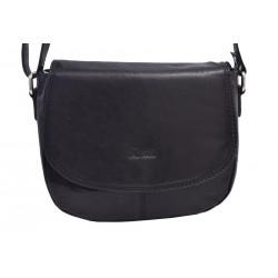 Dámská kožená crossbody kabelka černá 260105