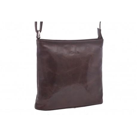 Dámská kožená crossbody kabelka tmavěhnědá 260112