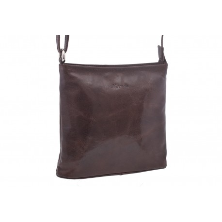 Dámska kožená crossbody kabelka tmavohnedá 260112