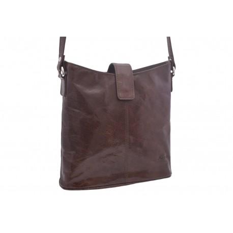 Women's leather crossbody handbag dark brown 260113