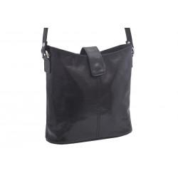 Dámská kožená crossbody kabelka černá 260113