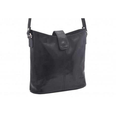 Dámska kožená crossbody kabelka čierna 260113