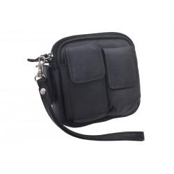 Kožená taška na opasok čierna 496
