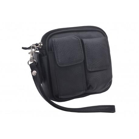 Kožená taška na opasek černa 496