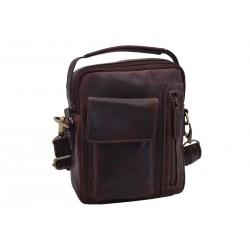 Men's leather crossbody dark brown 380102