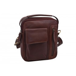 Men's leather crossbody dark brown vintage 370102