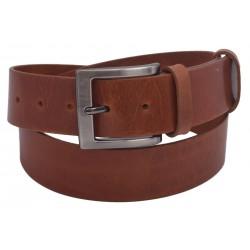 Men's leather belt 740-40-08 cognac buckle New Year's Eve